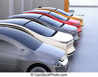 Colorful electric cars in parking lot. 3D rendering image.