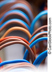 Colorful electrical wires - Closeup of colorful electrical...