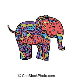colorful elephant . Hand drawn elephant coloring page. Coloring book page for adults, joy to order children and adult colorist. Black and white background. Vector