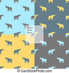 Colorful elephants silhouette