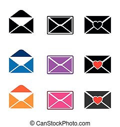 Colorful email icon set