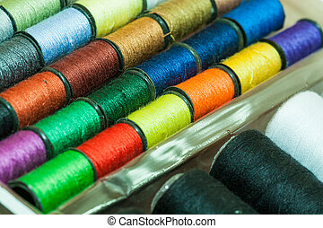 Colorful embroidery threads