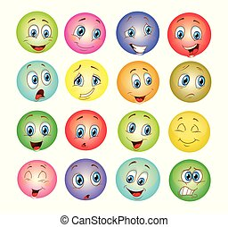 colorful emoticons set cartoon