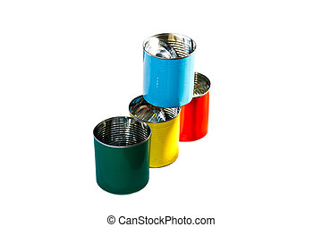 Colorful empty cans ( red blue yellow and green) isolate on white