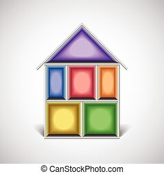 Colorful empty house rooms in cut