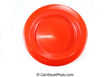 Colorful empty shiny plate on white background