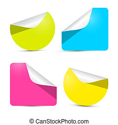 Colorful Empty Stickers - Labels Set Isolated on White Background