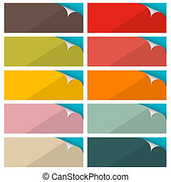 Colorful Empty Stickers Set with Bent Corner Vector Illustration