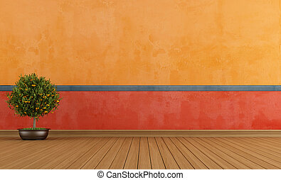 Colorful empty vintage room - Colorful empty room with ...