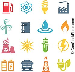 Colorful Energy Concepts Vector Icon Set - A Colorful vector...