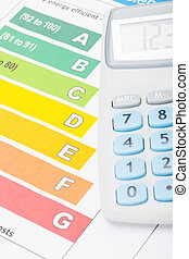 Colorful energy efficiency chart and neat calculator over it...