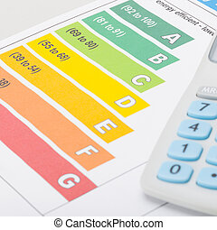 Colorful energy efficiency chart with calculator