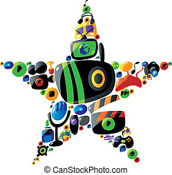 Colorful entertainment and music icons in star shape - Icon...