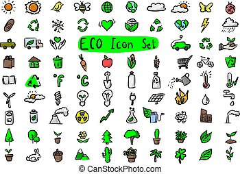 Colorful environmental icon set vector illustration sketch doodle hand drawn with black lines isolated on white background