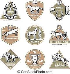 Colorful Equestrian Sport Labels Set