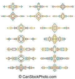 Colorful ethnic borders set isolated on white background. Collection of boho tribal elements. Line style art. Vector illustration.