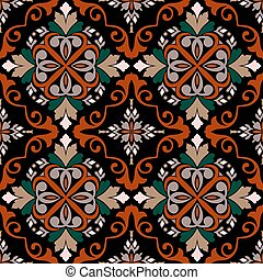 Colorful ethnic floral vector seamless pattern. Bright colorful vintage  background. Tribal repeat backdrop. Geometric folkloric ornate ornaments with abstract shapes, flowers, frames, swirls, leaves