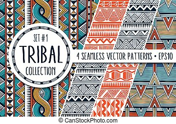 Colorful ethnic patterns collection. Set of 4 modern abstract seamless backgrounds.