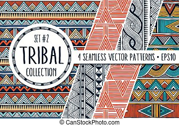 Colorful ethnic patterns collection. Set of 4 modern abstract seamless ornaments.