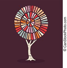 Colorful ethnic style concept tree illustration