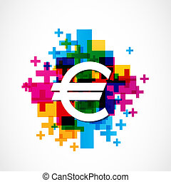 colorful euro sign vector