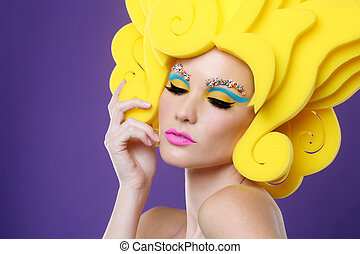 Colorful Exotic Image of Woman Wearing Candy Makeup - Bright...
