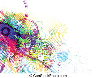 colorful explosion design containing a variety of original ...