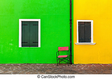 Colorful exterior of the house in Burano.