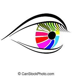 Colorful Eye Icon Isolated