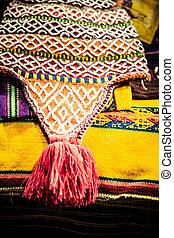Colorful Fabric at market in Peru, South America