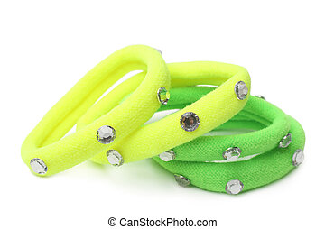 Colorful fabric hair bands with strass on white background