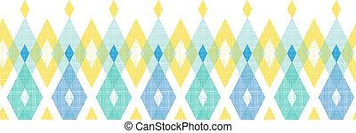 Colorful fabric ikat diamond horizontal seamless pattern background