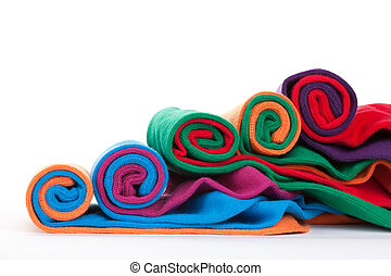Colorful fabric rolls - Several different colorful fabric ...