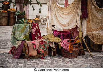 Colorful fabrics at street market