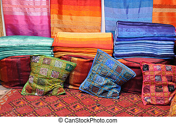 Colorful fabrics for sale in Fes, Morocco