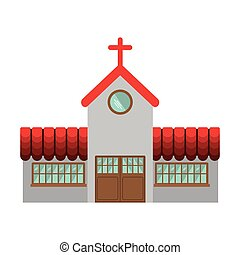 colorful facade church icon design