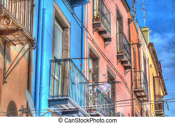 colorful facades in Bosa, Italy