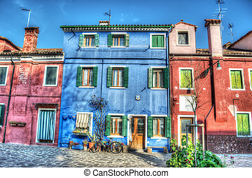 colorful facades in Burano