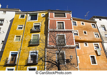 Colorful facades in the city of Cuenca, Castilla la Mancha, ...