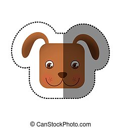 colorful face sticker of dog in square shape
