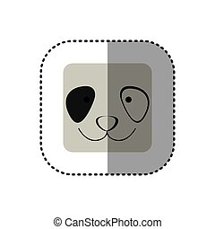 colorful face sticker of panda face in square frame