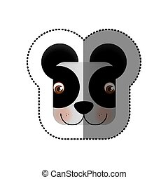 colorful face sticker of panda in square shape