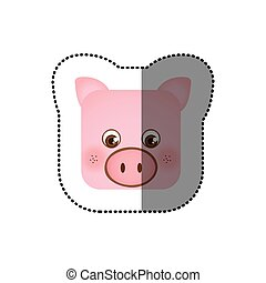 colorful face sticker of pig in square shape