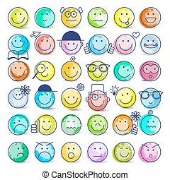 Colorful Faces Set. Vector Icons Isolated on White Background.