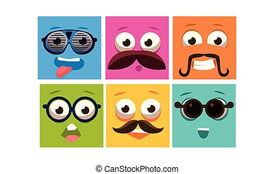 Colorful faces with different emotions set, square emoticons, emoji vector Illustration