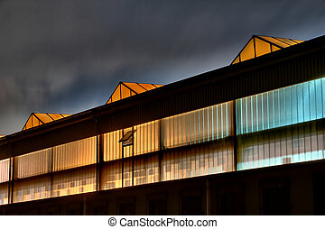 colorful factory at night