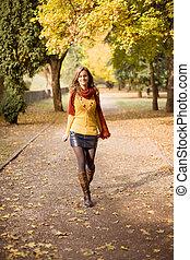 Colorful fall fashion.