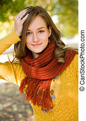 Colorful fall fashion girl in the park. - Half length...