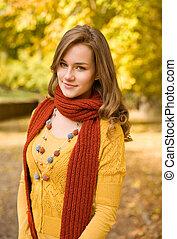 Colorful fall fashion. - Colorful fall fashion, portrait of...