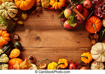 Colorful fall or autumn frame of fruit and veggies